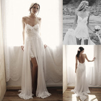 A-Line Reference Images Spaghetti 2014 Summer New Boho Romantic Lace Beach Wedding Dresses Bridal Gown With A Line Sheer White Chiffon Backless Spaghetti Straps Sexy Mini