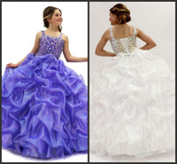 beautiful wedding dress free - 2014 beautiful lovely purple organza rubbon A line floor length spaghetti flower girl s dresses rubbon zipper custom made