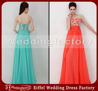 Reference Images aqua prom dress - New Arrival Coral Corset Prom Dresses Aqua Empire Sweetheart Sleeveless Long Chiffon Formal Gowns with Lace up Back and Crystals
