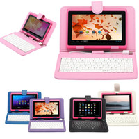 Wholesale Colorful quot Tablet PC PU USB Leather Keyboard Stand Case For Inch iRuLu Kids Tablet PC Q88 quot Keyboard Cover Case