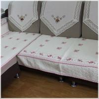 Rústico sofá almofada cor-de-rosa bordado patchwork tecido de sofá almofada de inverno sofá almofada antiderrapante