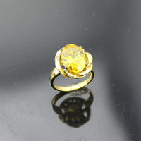 Solitaire Ring Women's Prong setting Free Shipping 925 Sterling Silver Jewelry 18K Yellow Gold Plated 925 Silver 8X10Mm Oval Citrine Cz Ring Size 5.5