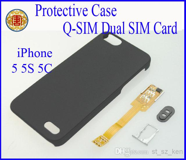 Buy Q-SIM Dual sim card adapter iphone 5s 5c 5g protective case trays, 5/lot