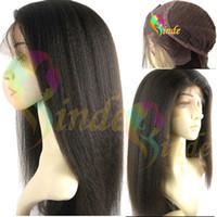 Wholesale Glueless quot quot Indian remy Italian yaki kinky straight wigs