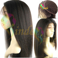 Wholesale Glueless quot quot Indian remy Italian yaki kinky straight wigs