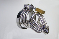 Male Chastity Cage  2014 latest design super small Male Chastity Art Device with Stainless steel catheter and non-slip ring Cage Cock ring BDSM Sex toy