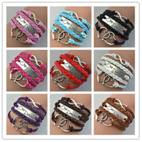 Wholesale Antique Silver Sideways Charm One direction Heart Infinity Braided Pink Leather Bracelet Wristbands Xmas Gift