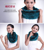 knitting fur scarf - 2014 new winter women wool knit scarf rex rabbit fur scarf scarves scarf double collars