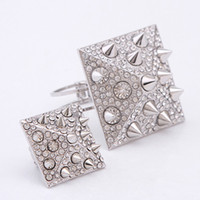 Wholesale Pyramid Rivet Bracelet Ring Set Silver Punk Style Rhinestone Square Fashion Jewelry Charm Bangle