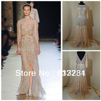 Reference Images Scalloped Organza 2014 New Arrival Haute Couture Elie Saab Evening Dresses Gold Lace Beads and Sequins See Through Prom Dresses ES00516