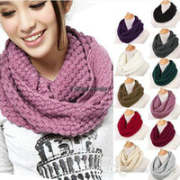Wholesale 10 New Arrival Women top selling Warm Knit Neck Circle Wool Cowl Snood Long Scarf Shawl Wrap