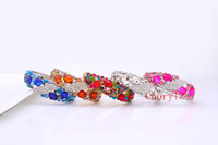 Wholesale Colorful Clear Glass Crystal Bracelet Luxury High Quality Gemstone Bangle Charm Jewelry Best Gift