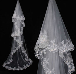 Wholesale Charming Elegant Cathedral Wedding Bridal Veil Chic Lace Edge Long Train m