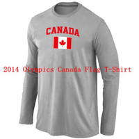 Ice Hockey Men Full 2014 Sochi Olympics Jersey Canada Flag Collection Locker Room Sleeve T-Shirt Light Grey Hot Brand Men's Hockey Wears Cheap Hockey Shirts