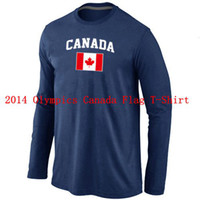 Ice Hockey Men Full 2014 Olympics Canada Flag Collection Locker Room Sleeve Hockey T-Shirt Deep Blue Men's Blank Hockey Jerseys High Quality Best Athletic Wears