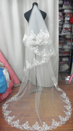 High Quality White Ivory Lace Hem Long Wedding Bride Veils One Layer Super Long