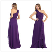 Reference Images Ruched;Floral Details Sleeveless Vestidos 2014 Elegant Empire One Shoulder Ruched Floor Length Long Purple Chiffon Prom Dresses Formal Bridesmaid Dresses Cheap Under 100