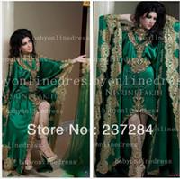 Reference Images Organza Formal Evening 2014 Hot Arabic Kaftan Evening Dress Long Sleeves High Neck Gold Applique Lace Chiffon Green Abaya Dubai Evening Gowns No Pants