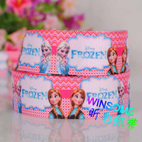 Wholesale 10yards quot mm Frozen princess zebra chervron printed gift ribbon cartoon girl DIY gift grosgrain ribbon
