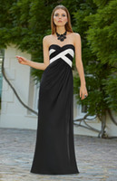 Wholesale 2014 Hot Sale Bridesmaid Dresses New Arrival Black and White Chiffon Sweetheart Pleats Floor Length A line Wedding Party Dresses