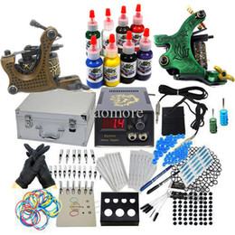 Wholesale USA Dispatch Complete beginner Tattoo Kit Machine Guns Power Supply Inks Tools Needles Tip Set Carrying case