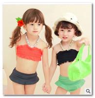 Girl Bikinis 3-4-5-6-7 Fashion korean children's bikini swimsuit Wrapped chest split 3pcs sets of baby girl swimsuit children spa beachwear in stcok7024