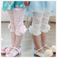 Wholesale 2014 Girls Kids Korean Summer Pants Beautiful Lace Stereo Flower Cotton Leggings Pink White Adorable Pants Size Age Y
