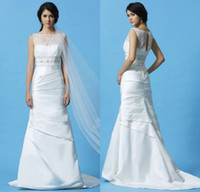 Wholesale Eden Bridals A line Sheer Bateau Lace Corset Crystal Sash Ruffles Court Train Satin Bridal Gown Chinese Vintage Wedding Dress DL1310593