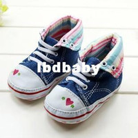 Wholesale Please Leave color and size for us Pairs Classical Jeans High Baby Shoes for Girls Heart Pattern Turn up Infant s First Walkers Lac