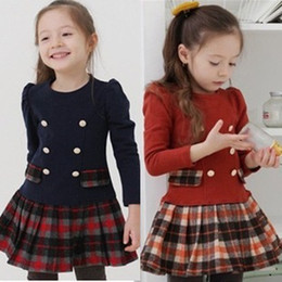 Wholesale 2014 Korean Girls Plaid Cotton Long Sleeve Princess Dress Children Preppy Look Dresses Double Breasted Dressy