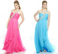 Wholesale Pink Chiffon Plus Size Prom Dresses Shiny Crystals Beaded Appliques Zipper Backless Light Sky Blue Backless Full Figure Evening Gowns