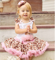 Wholesale Summer Children Clothes Europe and America all cotton gallus Top leopard print Short skirts Baby Sets Girls Suit sets TX34