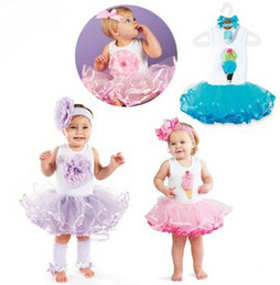 Discount cotton gauze patterns 2017 Summer New Baby Girls Stereo Ice Cream Flowers Pattern Sleeveless Gauze Pompon Dresses Princess Children Girl Cute Dress B2876