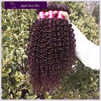 Malaysian Hair Curly Human Hair Free Shipping Virgin Malaysian Human Hair Weave 99j Kinky Curly 3Pcs lot 14-22inch