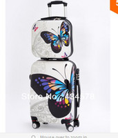 Wholesale 2014 hotsale butterfly luggage sets inch size abs pc luggage suitcase men and women trolling luggage with wheels