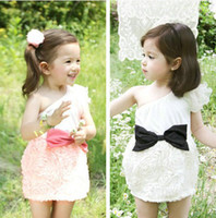 Wholesale Fashion Cute Girls Singel shoulder Butterfly Flower Princess Dresses Children Rosette Mini Dress Floral Rose Bowknot Flowers Dressy