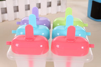 Ice Cream Makers Plastic ECO Friendly 6 Cell Frozen Ice Cream Pop Mold Popsicle Maker Lolly Mould Tray Pan Kitchen