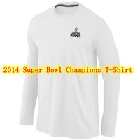 Wholesale 2014 Seattle Seahawk Super Bowl XLVIII Champions Trophy Collection American Football T Shirt Locker Room Long Sleeve Men s Brand Jerseys