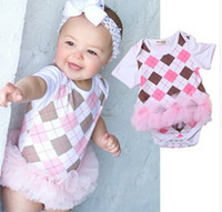 Wholesale 2014 Summer Baby Girls Argyle Back To School Style Pink Gauze Patche Short Sleeve One Piece Romper Dress Infant Baby Rompers B2877