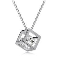 Wholesale Fashion Jewelry Gift K White Gold Platinum Plated Genuine Zircon Crystals Simulated Diamonds Necklace Women Rubik s Cube Diamond Necklace