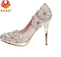 Pumps High Heel Pointed Toe Lace flowers Diamond 10cm Heels Waterproof Prom Evening Party Dress Lady Bridal Wedding Shoes