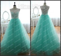 Wholesale Pageant dresses teens A Line See Through Lace Hunter Crew Neckline Sleeveless s Floor Length Formal Evening Dresses Prom DressesTulle