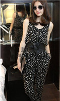 Cotton Sleeveless Pants Sexy Women Cotton Jumpsuits Outdoor Casual Sleeveless Union Suits With Dot