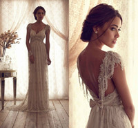 Wholesale Luxury Mermaid Wedding Dresses Sheer V Neck Capped Sleeves Sash Empire Backless Summer Lace Bridal Gowns with Bow Sequins Beads BO2212