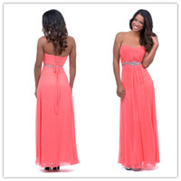 Wholesale 2014 Elegant Sweetheart Beaded Rhinestone Lace up Coral Chiffon Long Corset Prom Dresses Formal Bridesmaid Dresses Cheap Under
