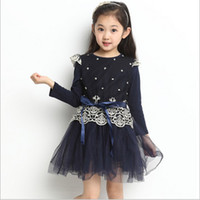 Wholesale 2014 Spring New Arrival Long Sleeve Girl Dress Lace Net Yarn Ribbon Preppy Style Big Children Dress Year Kids Princess Dresses Wear GX06