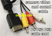 Wholesale PS PS2 PS3 Ft Audio Video AV Cable cord to RCA PlayStation PS2 Playtation PS3 pc up