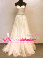 Wholesale 2014 Hot Sale Stunning Prom Dresses Sweetheart Backless Sequins Beaded Sash Nude Tulle Floor Length Crystal Evening Gowns SH2545