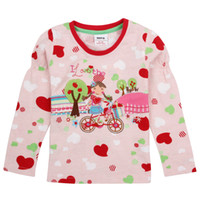 baby bike - F2899 Hot pink latest spring autumn Nova m y baby girls cotton long sleeves T shirts bike embroidery girls tops pieces per