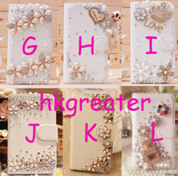 Wholesale Cute Bling Flower amp Heart Case For Samsung Galaxy SIV S4 I9500 S3 I9300 Iphone s Leather Flip Stand Purse Wallet Diamond Case Cover